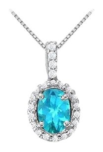 LoveBrightJewelry Fancy Oval Blue Topaz and Cubic Zirconia Halo Pendant in Sterling Silver