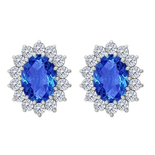 LoveBrightJewelry Fancy Oval Sapphire and CZ Halo Stud Earrings in 925 Sterling Silver