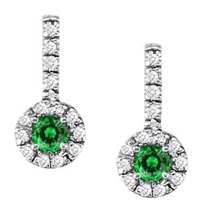 LoveBrightJewelry Fancy Round Emerald and Cubic Zirconia Halo Earrings in Sterling Silver