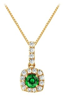 LoveBrightJewelry Fancy Square Emerald and Cubic Zirconia Halo Pendant in Gold Vermeil over Sterling Silver