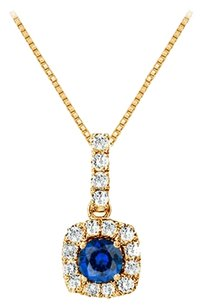 LoveBrightJewelry Fancy Square Sapphire and Cubic Zirconia Halo Pendant in 14K Yellow Gold Vermeil over Silver