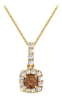 LoveBrightJewelry Fancy Square Smoky Quartz and Cubic Zirconia Halo Pendant in 14K Yellow Gold Vermeil over Silver