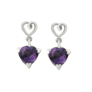 LoveBrightJewelry February Birthstone African Amethyst Stud Earrings In Sterling Silver