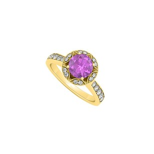 LoveBrightJewelry February Birthstone Amethyst And Cubic Zirconia Designer Engagement Ring 18k Yellow Gold Vermeil