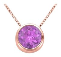 LoveBrightJewelry February Birthstone Amethyst Pendant in 14K Rose Gold Vermeil over Sterling Silver