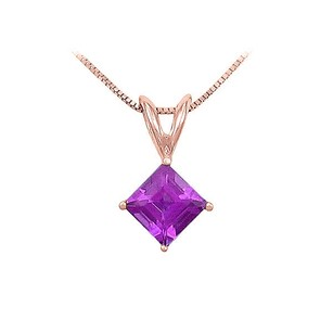 LoveBrightJewelry February Birthstone Square Amethyst Solitaire Pendant 14K Rose