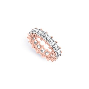 LoveBrightJewelry Five Carat Cubic Zirconia Eternity Band In 14k Rose Gold Vermeil Fifth Wedding Anniversary Jewel