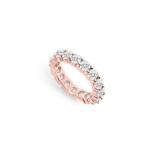 LoveBrightJewelry Four Carat Cubic Zirconia Eternity Band In 14k Rose Gold Vermeil Fourth And Fifth Wedding Annive