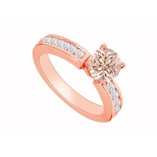 LoveBrightJewelry Four Prong Pink Morganite With Diamond Accents Engagement Ring 14k Rose Gold Top Design For Her