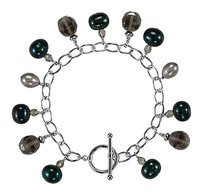 LoveBrightJewelry Freshwater Cultured Dyed Pearl and Smoky Glass Bead Bracelet in 925 Sterling Silver 7.25 Inch