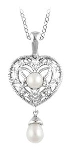 LoveBrightJewelry Freshwater Cultured Pearl and 0.02 Carat Diamond Pendant in 925 Sterling Silver 18 Inch Necklac