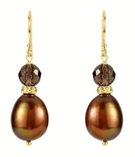 LoveBrightJewelry Freshwater Dyed Chocolate Cultured Pearl and Smoky Quartz Earrings in 14K Yellow Gold