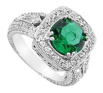 LoveBrightJewelry Frosted Emerald and Cubic Zirconia Ring 4.00 Carat Total Gem Weight