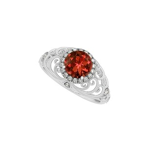 LoveBrightJewelry Garnet And Cz Filigree Engagement Ring Sterling Silver