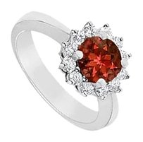 LoveBrightJewelry Garnet and Diamond Ring 14K White Gold 1.50 CT TGW