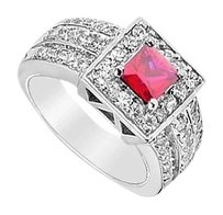LoveBrightJewelry GF Bangkok Ruby and Cubic Zirconia Ring 2.00 Carat Total Gem Weight