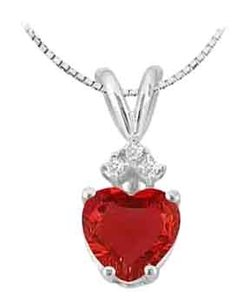 LoveBrightJewelry GF Bangkok Ruby Heart Pendant and Cubic Zirconia in 14K White Gold 1.03 Carat Total Gem Weight