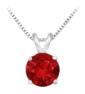 LoveBrightJewelry GF Bangkok Ruby Prong Set Sterling Silver Solitaire Pendant 1.00 CT TGW