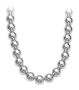 LoveBrightJewelry Gold Beads Necklace on 14K White Gold Chain with 10MM White Gold Beads