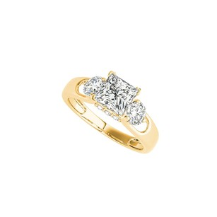 LoveBrightJewelry Gold Vermeil Ring With Three Stones Cubic Zirconia