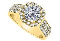 LoveBrightJewelry Gorgeous Cubic Zirconia Wide Shank Halo Ring in 18K Yellow Gold
