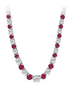 LoveBrightJewelry Graduated Created Ruby CZ Tennis Necklace 17.00.ct.tw