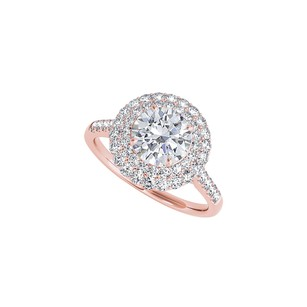 LoveBrightJewelry Halo 14K Rose Gold Ring with Conflict Free Diamond