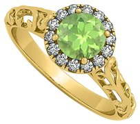 LoveBrightJewelry Halo Filigree Engagement Ring with Peridot and CZ in 18K Yellow Gold Vermeil 0.66 CT TGW