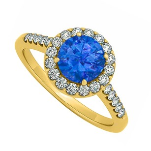 LoveBrightJewelry Halo Four Prong Set September Sapphire And Cubic Zirconia April Birthstone Engagement Ring