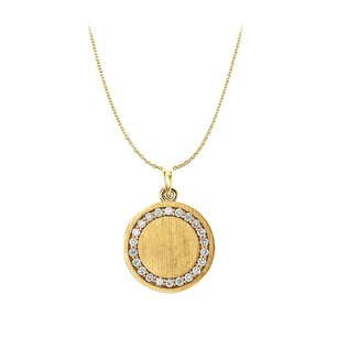 LoveBrightJewelry Halo Pattern CZ Engravable Pendant in 14K Yellow Gold