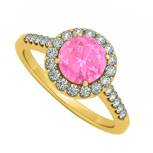 LoveBrightJewelry Halo Pink Sapphire September With Cubic Zirconia April Birthstone Engagement Ring