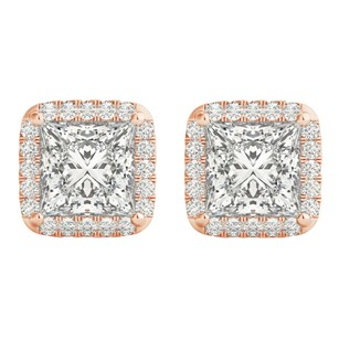 LoveBrightJewelry Halo Stud Earrings with Princess Cut CZ in Rose Gold
