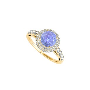 LoveBrightJewelry Halo Yellow Gold Vermeil Ring With Tanzanite And Cz