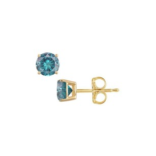 LoveBrightJewelry Happiness Free with 0.50 CT Blue Diamond Stud Earrings