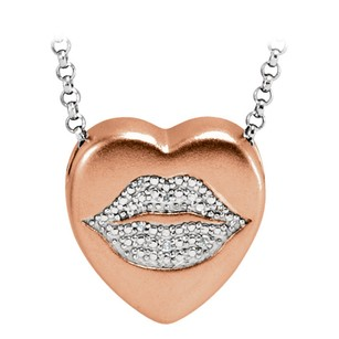 LoveBrightJewelry Heart Pendant Natural Conflict Free Diamonds Studded On Lips Shape