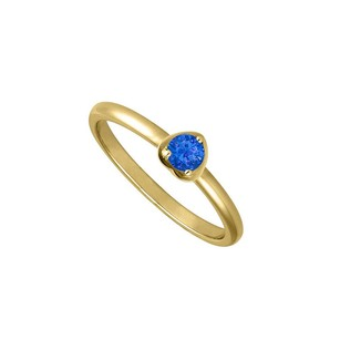 LoveBrightJewelry Heart Shape Ring with Round Simulated Sapphire of 1 Carat
