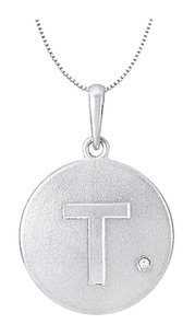 LoveBrightJewelry Initial Pendant Block Letter T with Cubic Zirconia Disc in Rhodium Plating 925 Sterling Silver