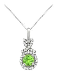 LoveBrightJewelry August Birthstone Peridot with CZ Halo Pendant in 925 Sterling Silver