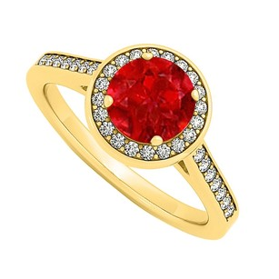 LoveBrightJewelry July Birthstone Created Ruby And Cubic Zirconia Halo Engagement Ring In Yellow Gold Vermeil Fabu