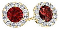 LoveBrightJewelry July Birthstone Ruby and CZ Halo Stud Earrings 18K Yellow Gold Vermeil 1.50 CT TGW