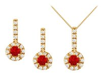 LoveBrightJewelry July Birthstone Ruby with CZ Halo Earrings and Pendant in 18K Yellow Gold Vermeil