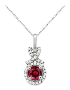 LoveBrightJewelry July Birthstone Ruby with CZ Halo Pendant in Sterling Silver