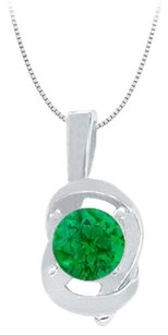 LoveBrightJewelry Knot pendant in Sterling Silver with May Birthstone Created Emerald 0.50 CT TGW