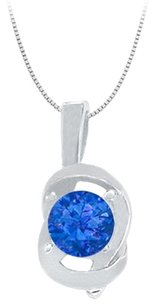 LoveBrightJewelry Knot pendant in Sterling Silver with September Birthstone Created Sapphire 0.50 CT TGW