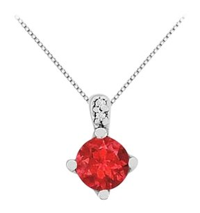 LoveBrightJewelry Large GF Bangkok Ruby Pendant Accented Cubic Zirconia in 14K White Gold 14K 1.27 Carat TGW