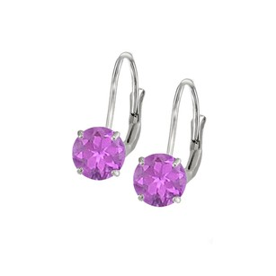 LoveBrightJewelry Leverback Earrings In 14k White Gold With Amethyst Gemstone 2.00 Ct Tgw Perfect Jewelry Gift