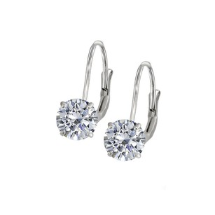LoveBrightJewelry Leverback Earrings in 14K White Gold with Cubic Zirconia Gemstone