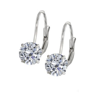 LoveBrightJewelry Leverback Earrings In 14k White Gold With Cubic Zirconia Gemstone 4.00 Ct Tgw Jewelry Gift