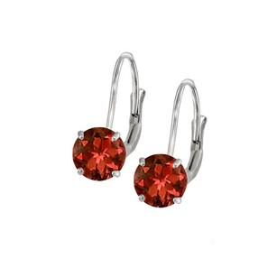 LoveBrightJewelry Leverback Earrings in 14K White Gold with Garnet Gemstone 2.00 CT TGW