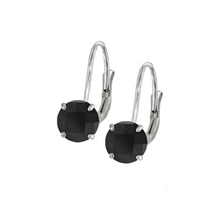 LoveBrightJewelry Leverback Earrings in 14K White Gold with Onyx Gemstone 2.00 CT TGW